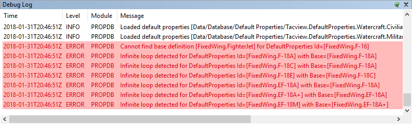 Tacview Database Debug Log