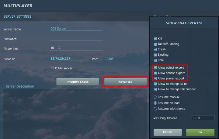 DCS World multiplayer export options