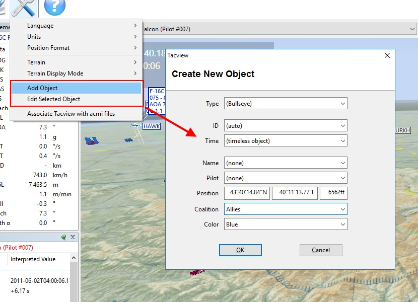 Add and edit objects easily with Tacview 1.5.1 beta 2